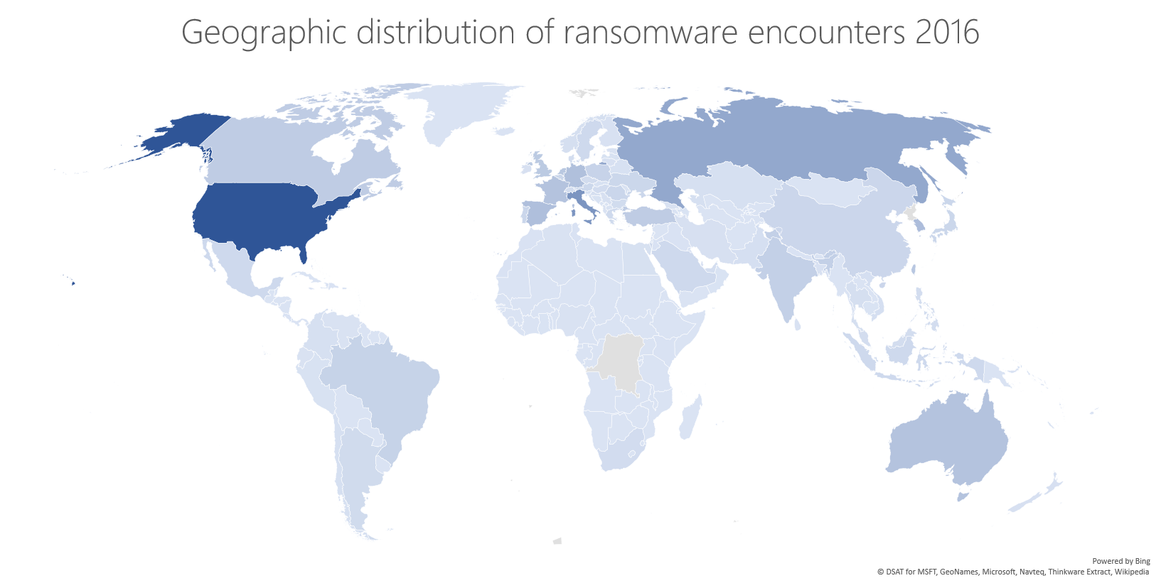 Geographic distribution of ransomware encounters, 2016