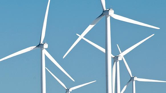 Close-up of multiple wind turbines