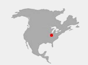 Map of United States highlighting Purdue University in Indiana