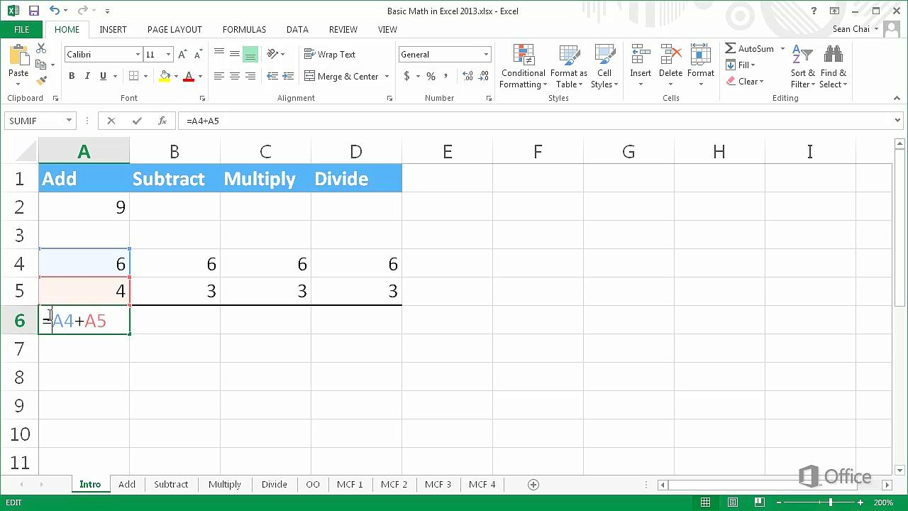 Video Basic math in Excel 20