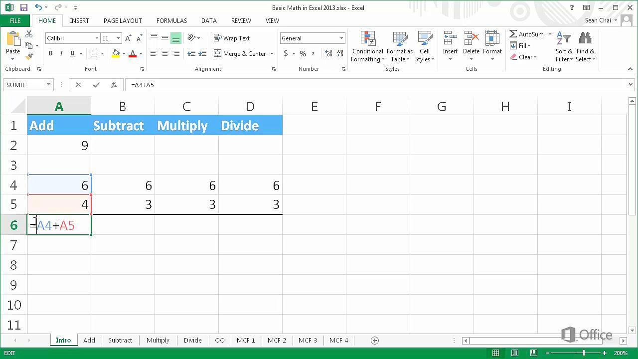 Video: Basic math in Excel 2013 - Excel