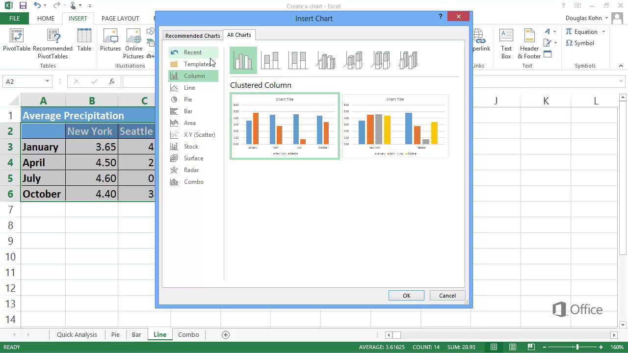Video Create Pie Bar And Line Charts Excel