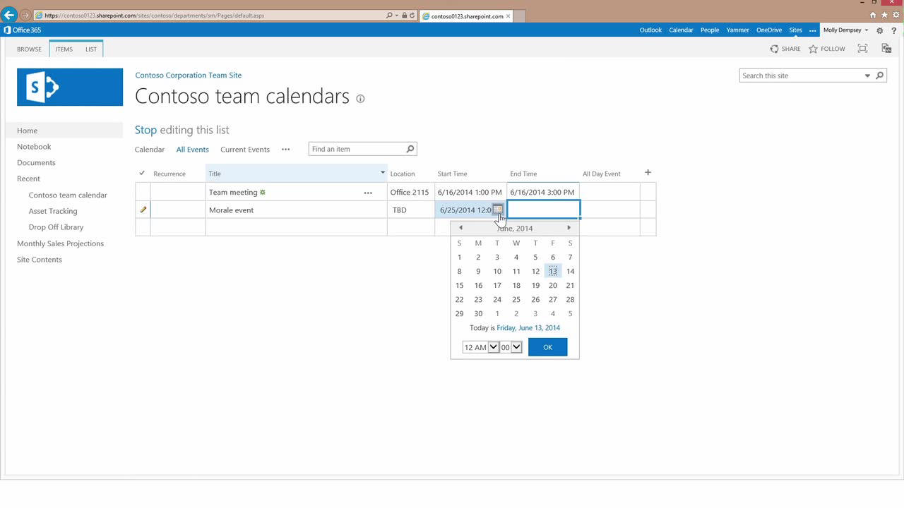 Video: Add events to a shared calendar in Office 365 - SharePoint