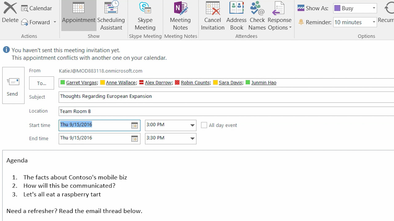 Turn email into meetings and appointments in Outlook