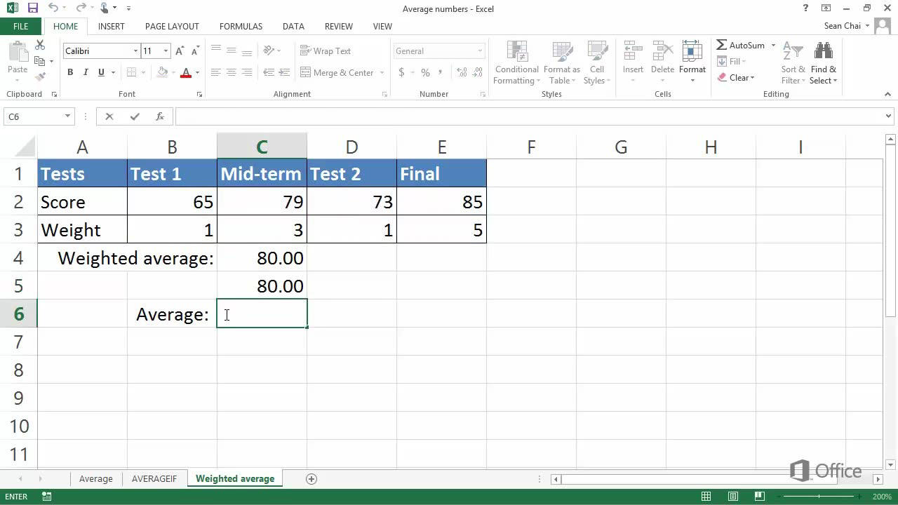 Video Weighted Average Excel