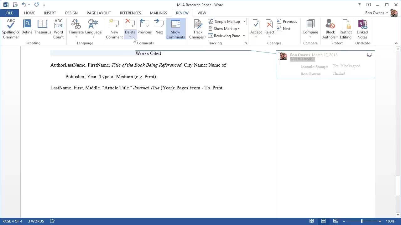 Video Insert And Review Comments In Word Word