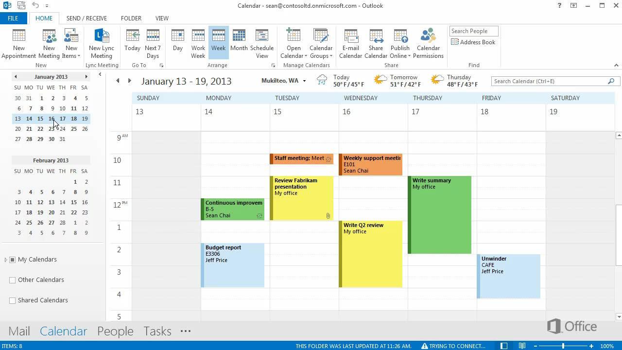 Video Calendar Views Outlook