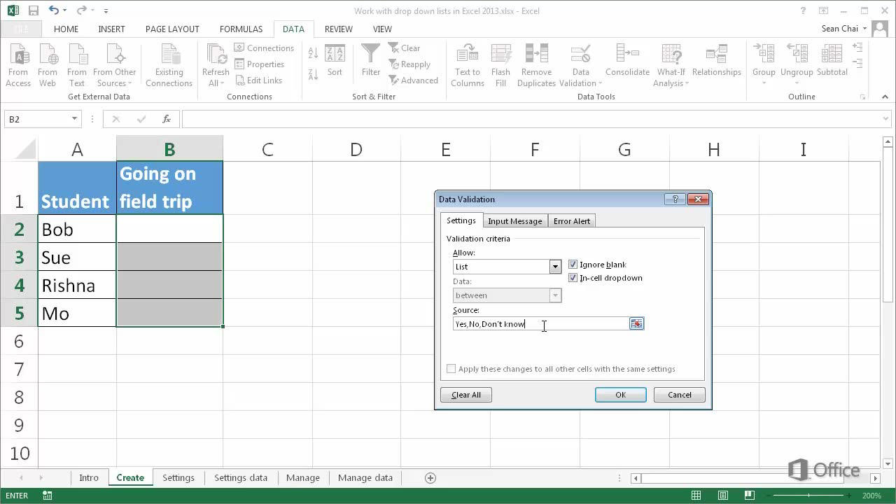 Video Create And Manage Drop Down Lists Excel