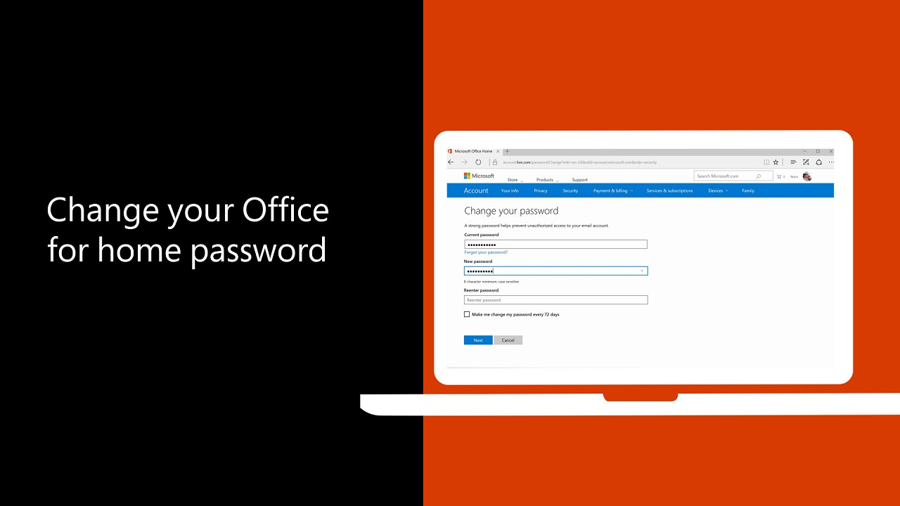 Change your Office for home password