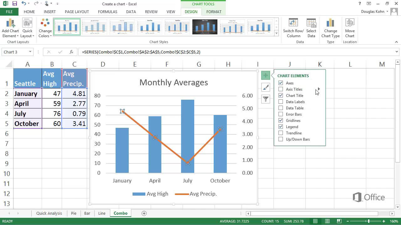 Video create a combo chart excel ccuart Gallery