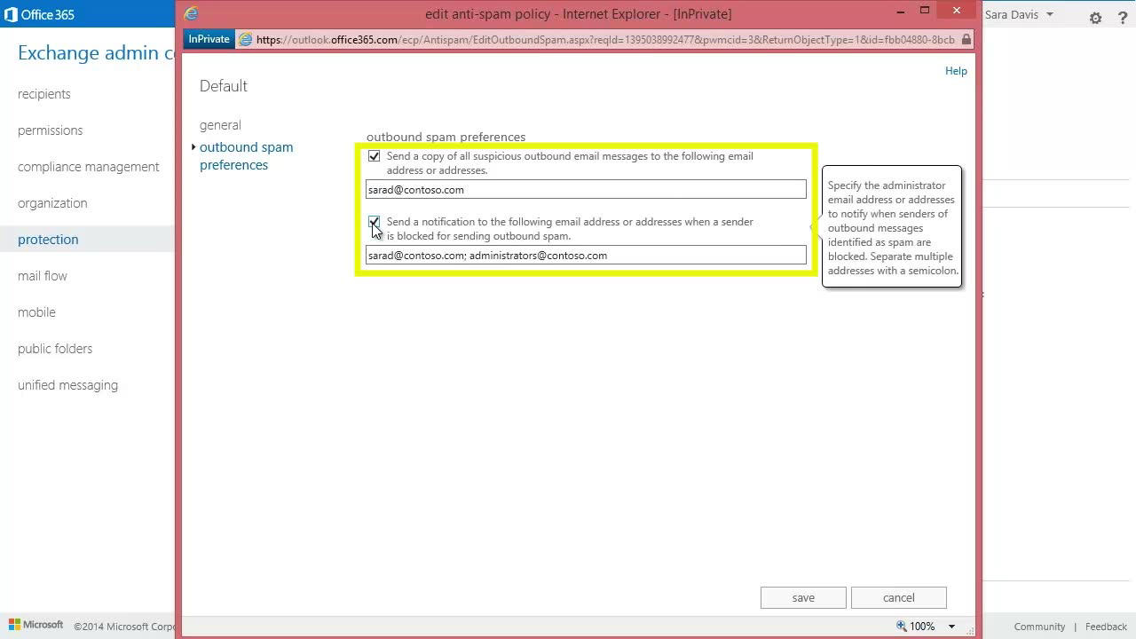 Configure the outbound spam policy   Microsoft Docs