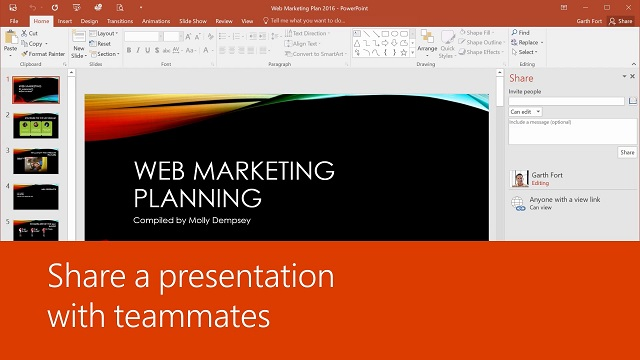 Share a presentation with teammates