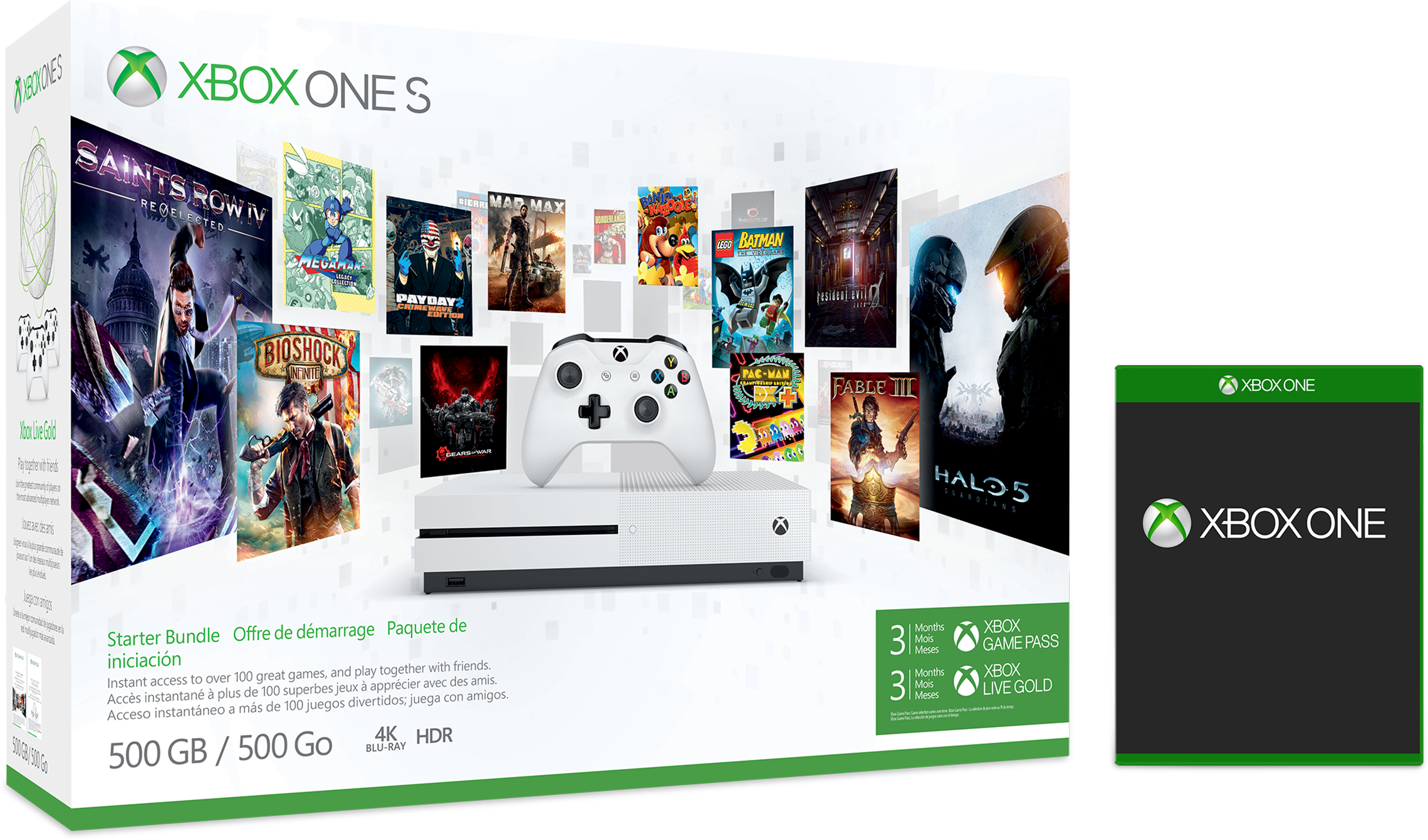 Xbox One S in box, white with matching wireless controller, 3 months of Xbox Live Gold plus free game of choice