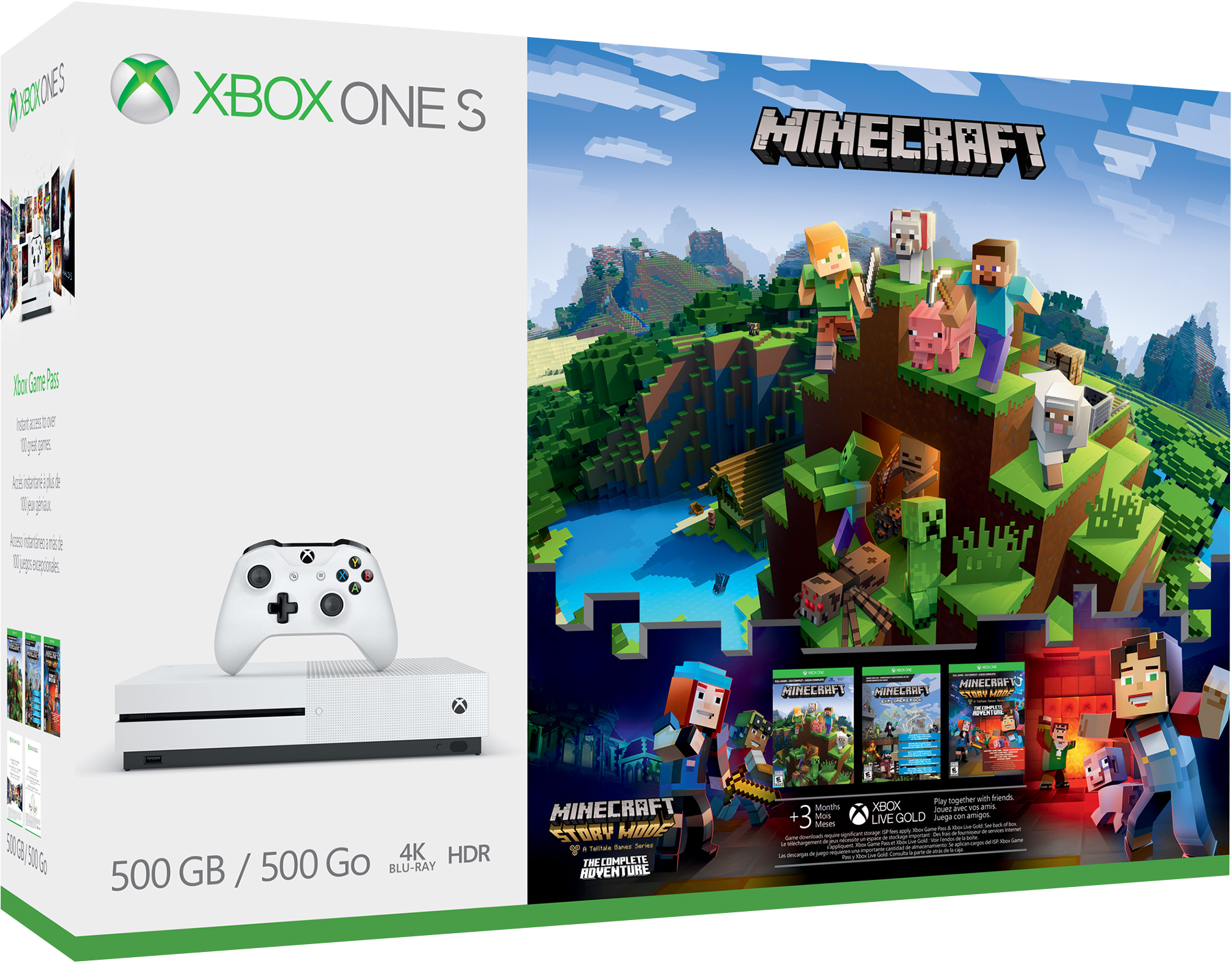 console xbox one s 500 go pack minecraft complete. Black Bedroom Furniture Sets. Home Design Ideas