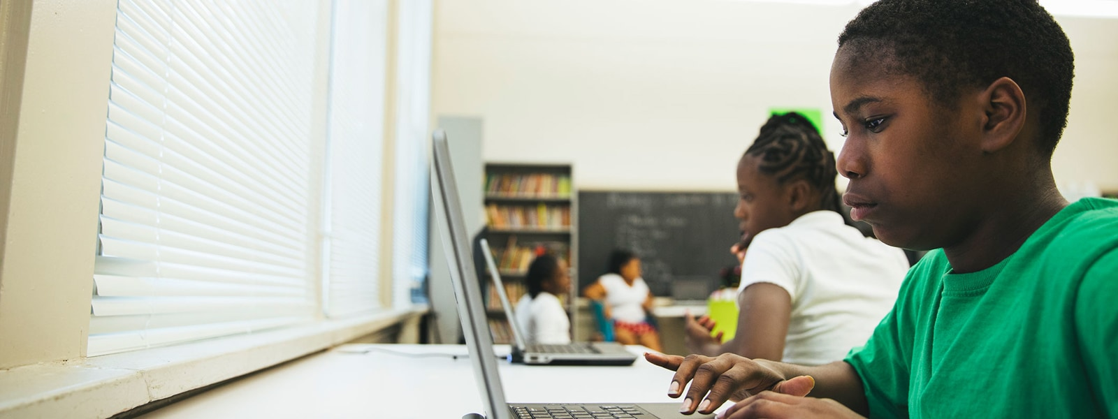 Students learning digital skills