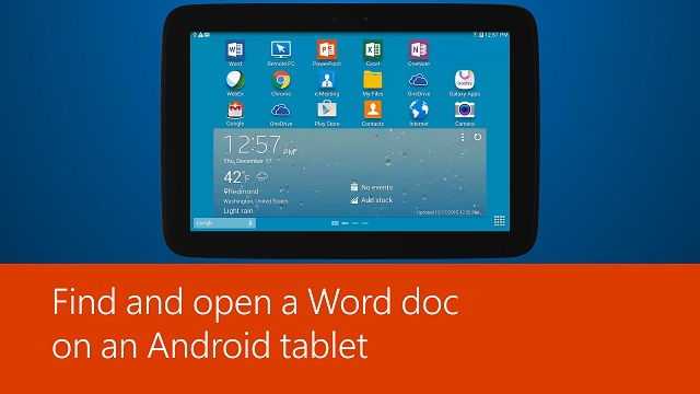 Find and open a Word doc on an Android tablet
