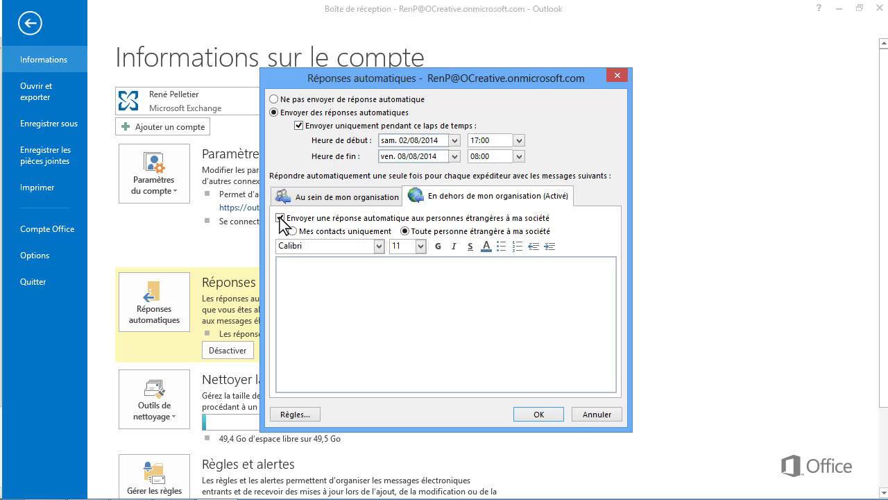 Video Configuration De Reponses Automatiques Et De Regles De Boite