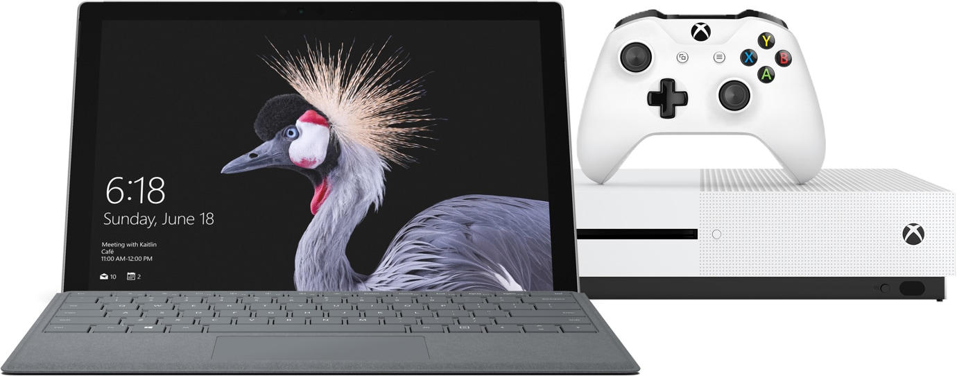 Surface Pro with Xbox One S console
