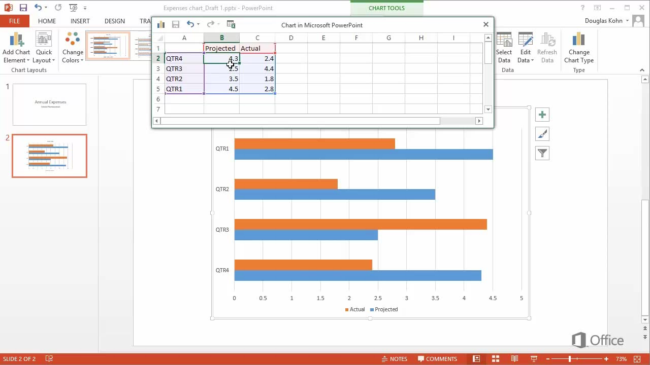 Video: Insert a bar chart