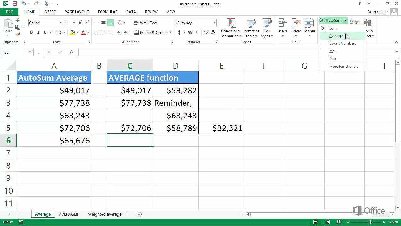 Video: Average a group of numbers