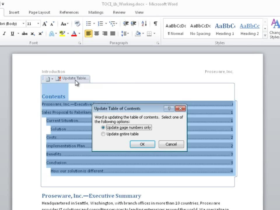 Video create and customize a table of contents word solutioingenieria Images