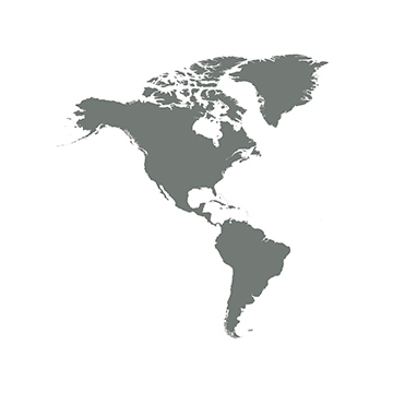 A silhouette of a map of North and South America.