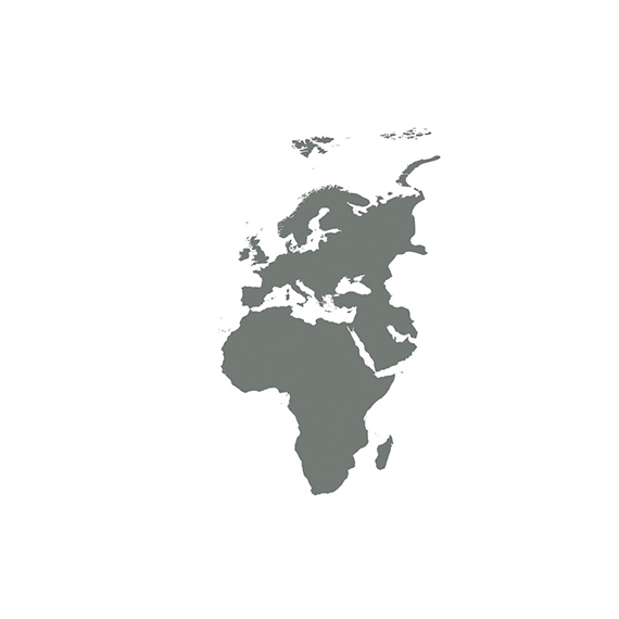 A silhouette of a map of Europe, Middle East, and Africa.