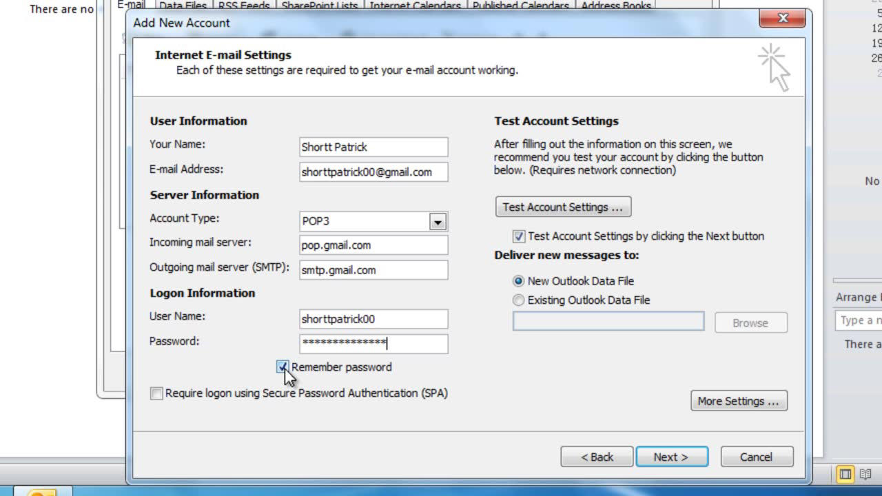 Configure outlook to connect to an msn email account reheart Image collections