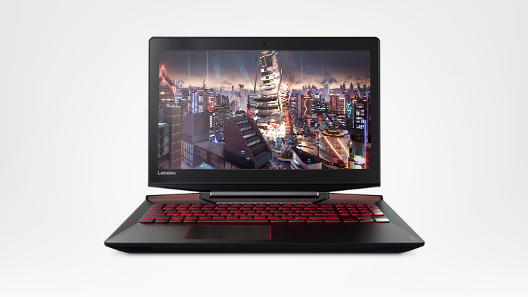 Lenovo Gaming laptop with game screenfill, front facing