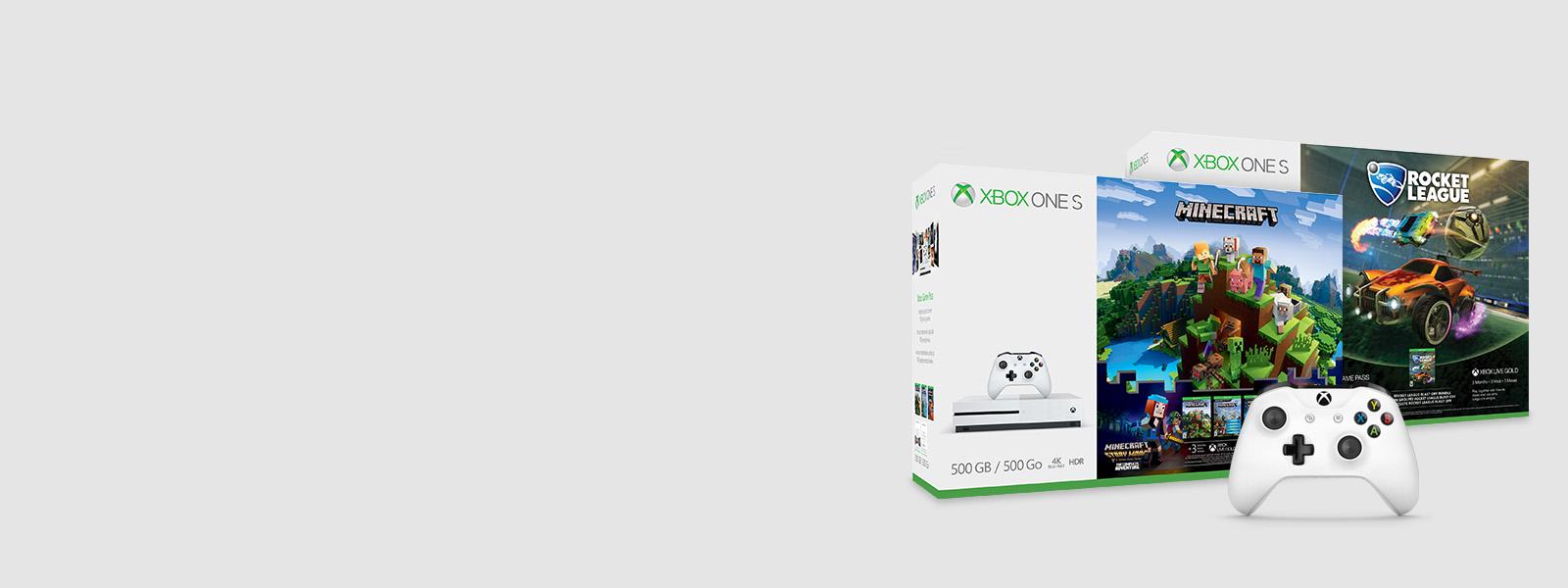 Due pacchetti Xbox One S con un controller bianco