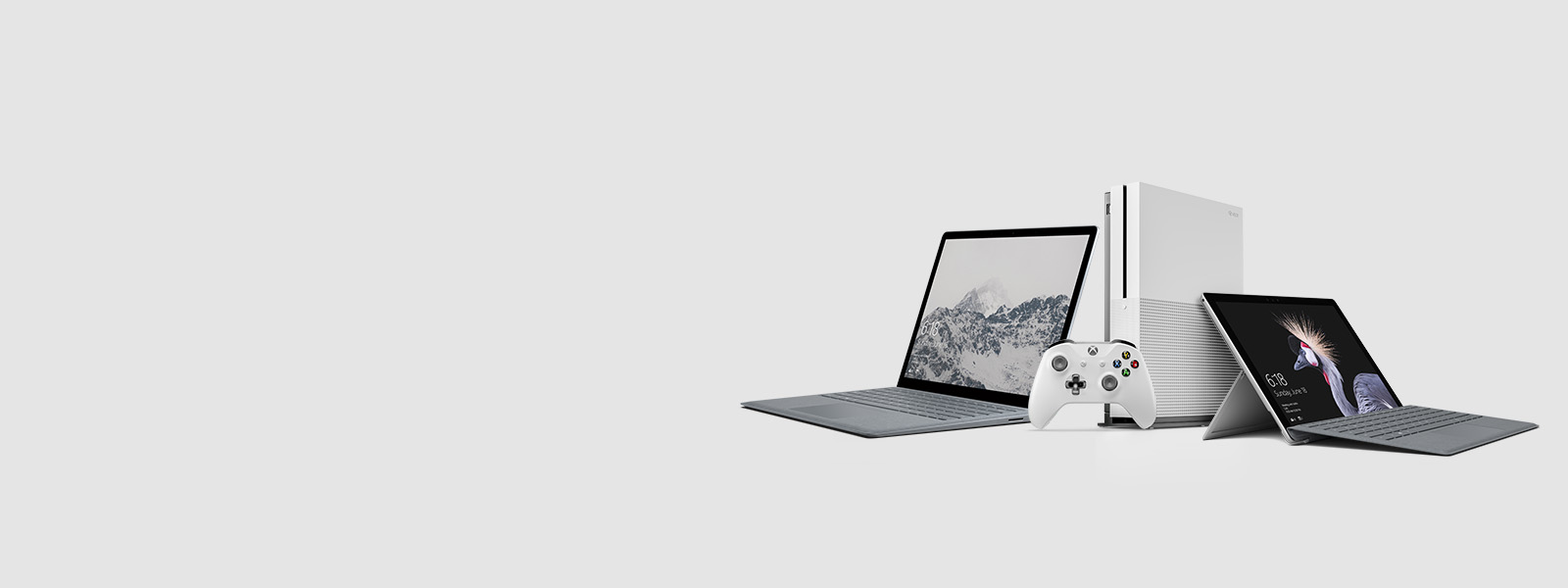 Surface Laptop, Surface Pro, Xbox One S console