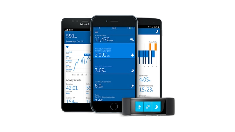 android iphone and windows phone displaying the microsoft band applive