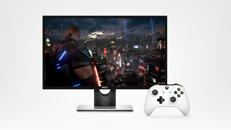 Gaming PC accessories, monitor and controller with gaming screenfill