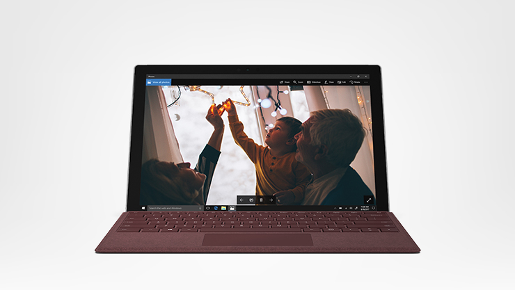 Surface pro front facing with burgundy type cover attached