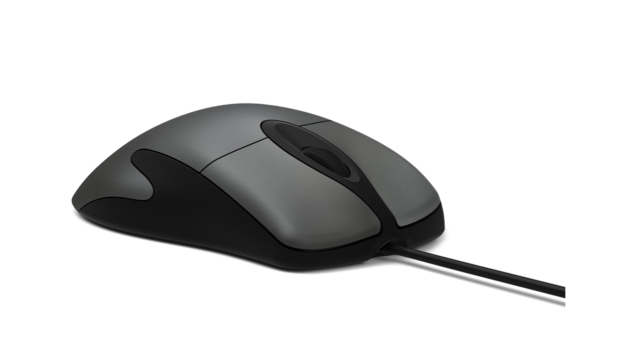 Front right angle of Microsoft Classic IntelliMouse.