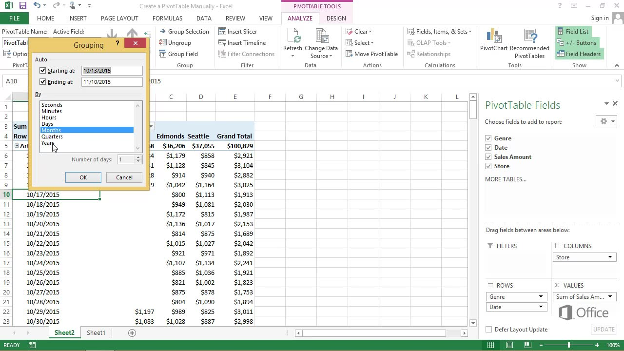 How To Do A Pivot Table In Excel >> Video Create A Pivottable Report Manually
