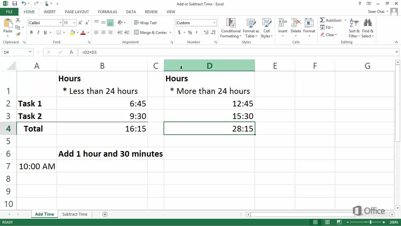 Video Add Or Subtract Time Excel