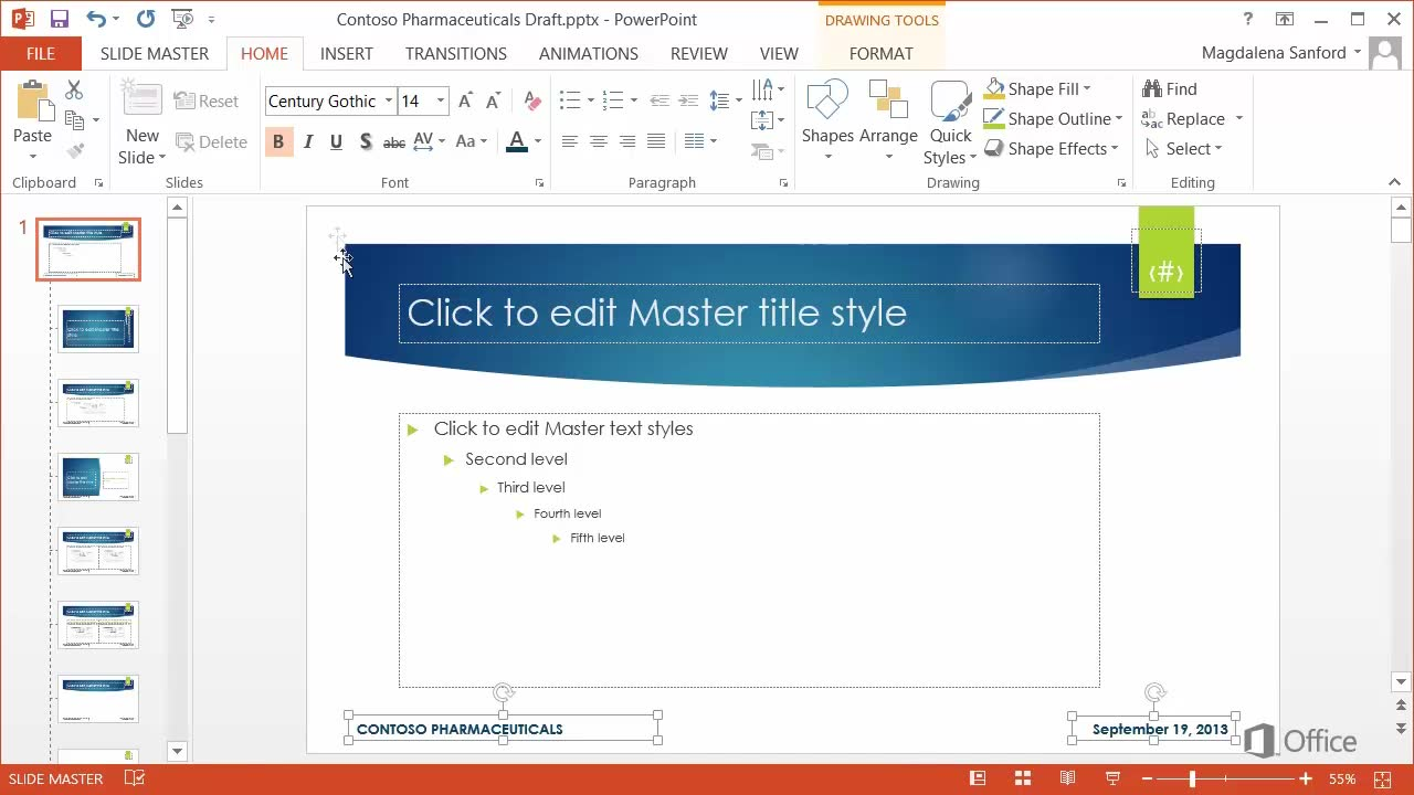 Video: Add headers and footers to a presentation