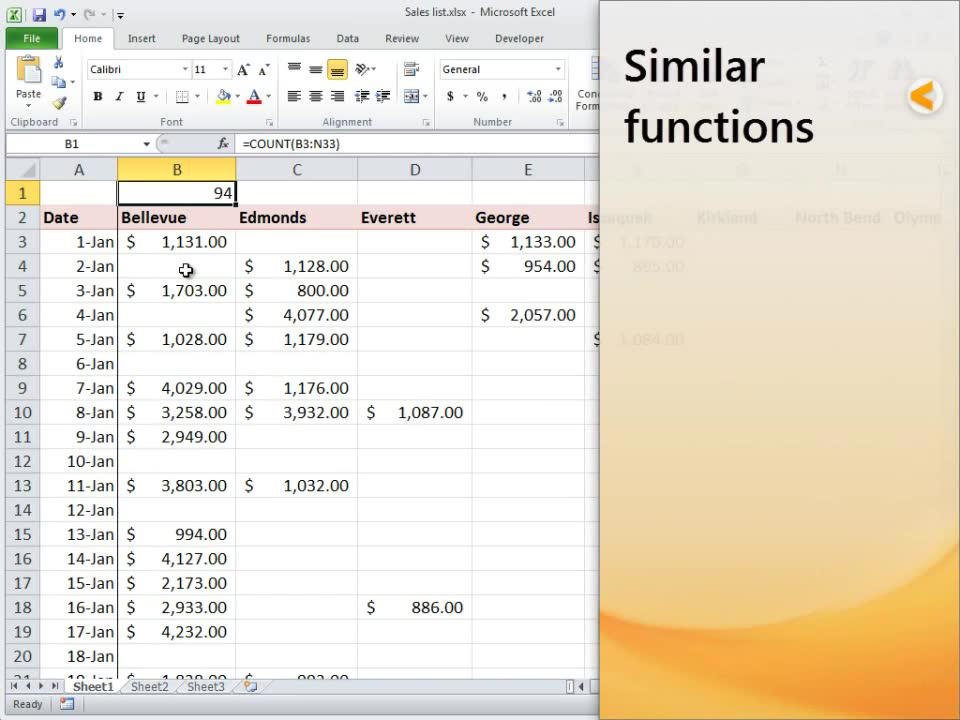 Count Function Office Support
