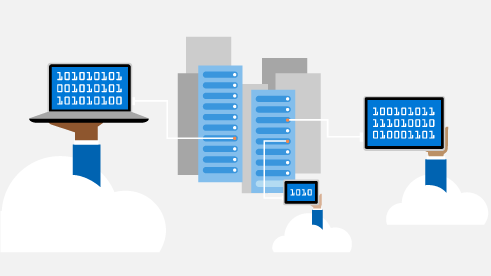 Illustration of computers and devices running Windows 10 in the cloud.