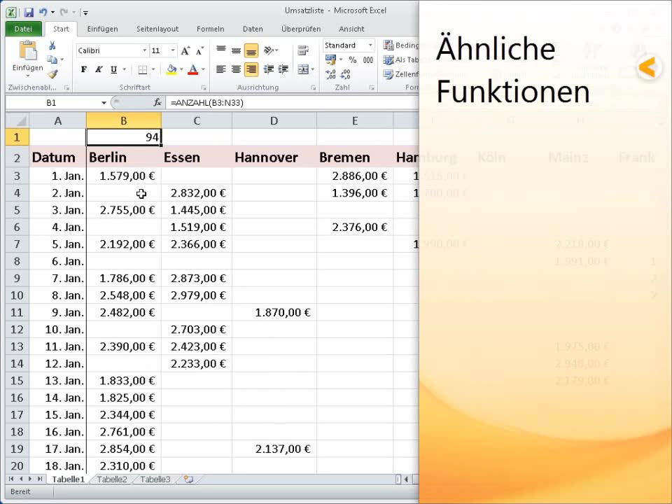 ANZAHL (Funktion) - Office-Support