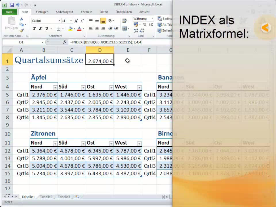 INDEX (Funktion) - Office-Support
