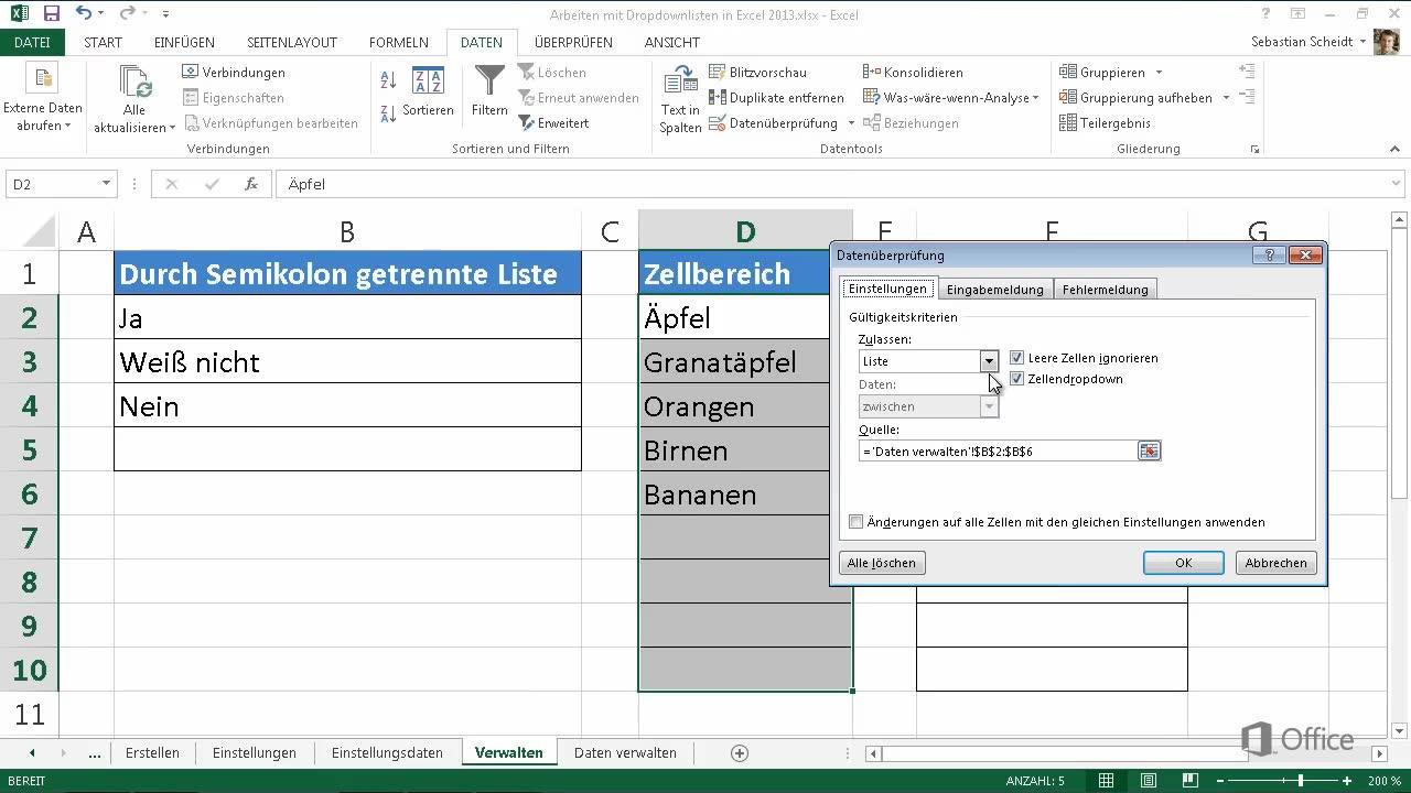 Verwalten von Dropdownlisten - Excel