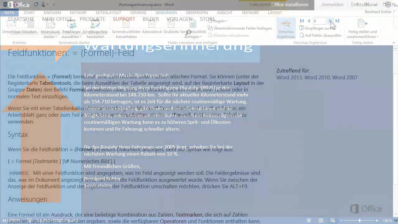 Hinzufügen von Formeln und bedingten Anweisungen - Word