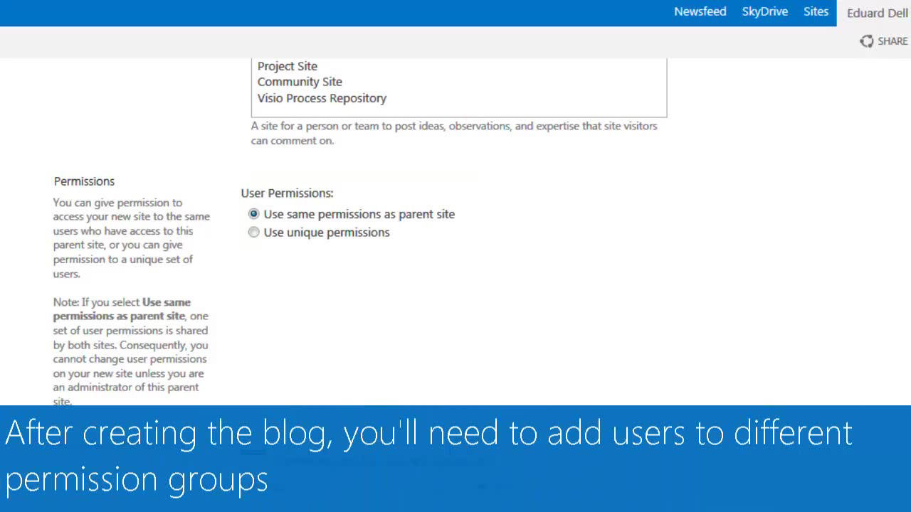 Video: Create and manage a blog to share information - SharePoint