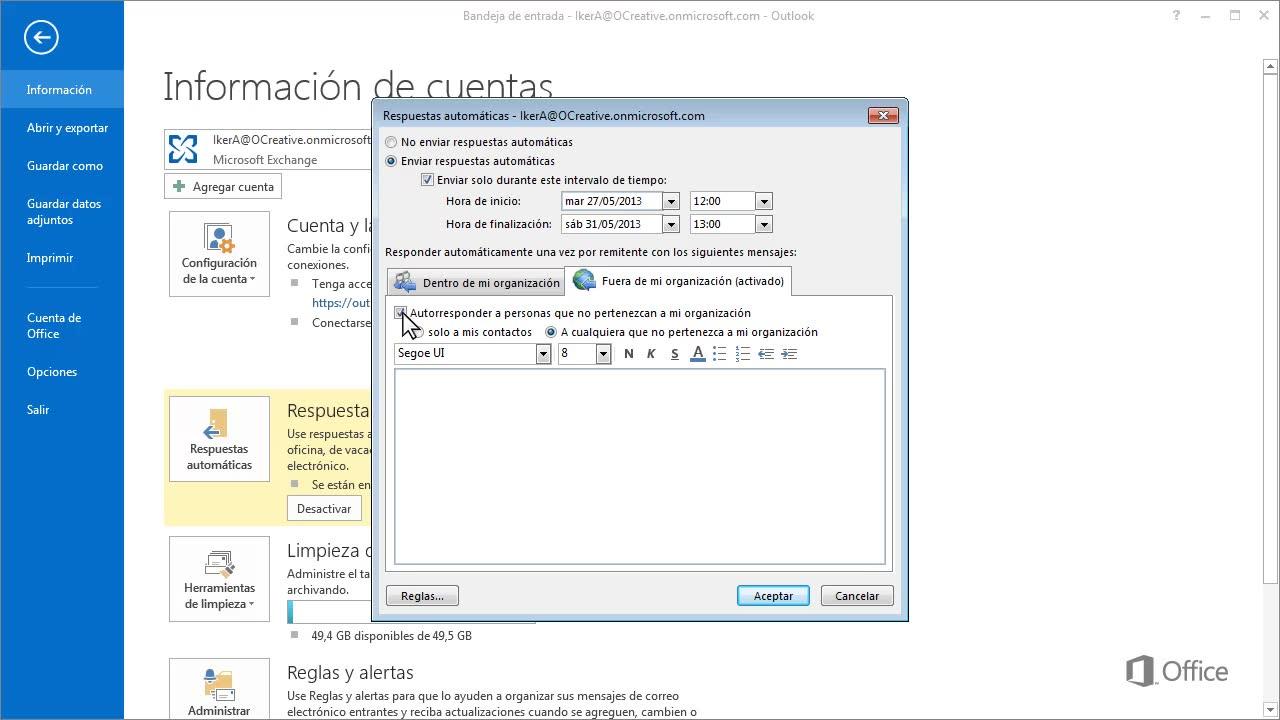 Vídeo: Configurar las respuestas automáticas y reglas de la bandeja ...