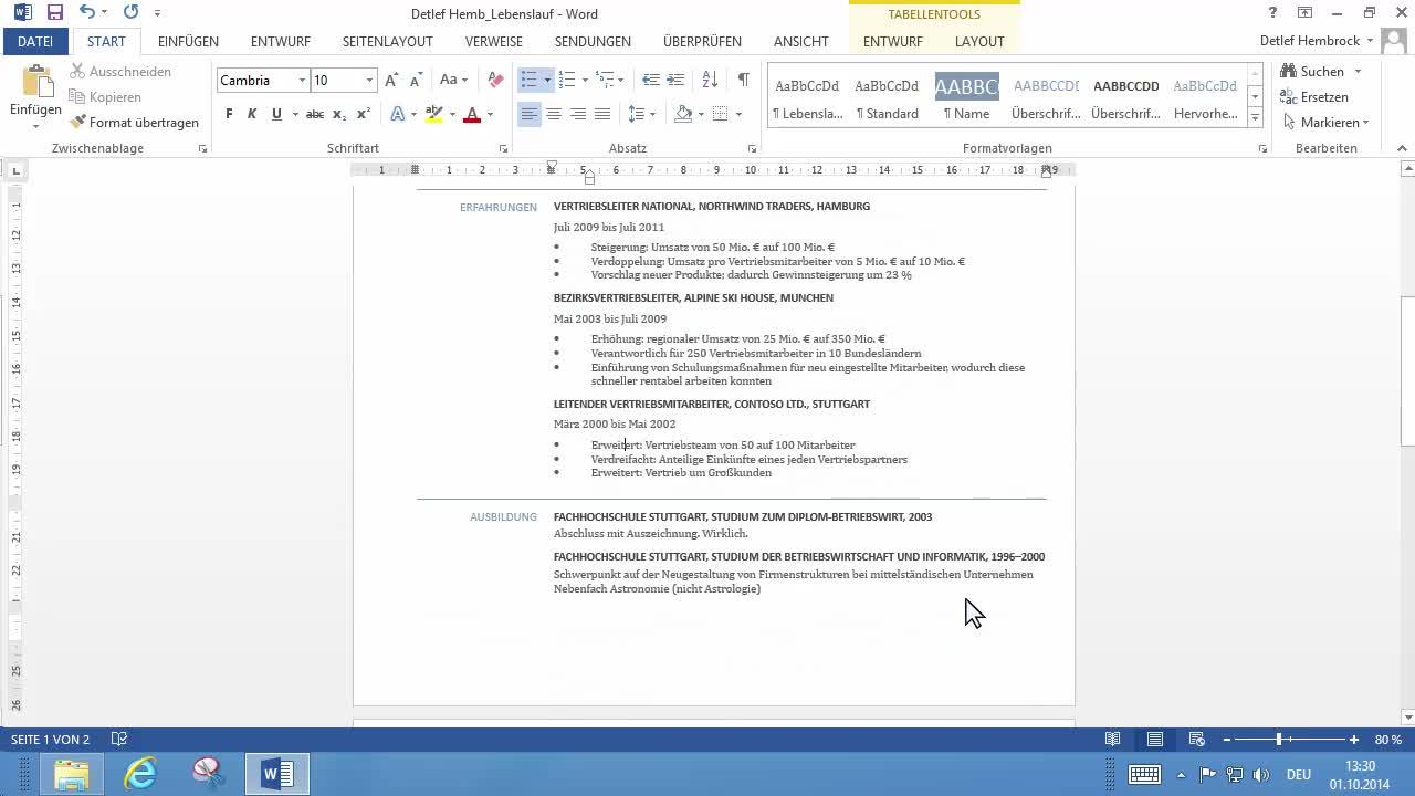Berühmt Schreiben Sie Lebenslauf Auf Microsoft Word 2007 Ideen ...