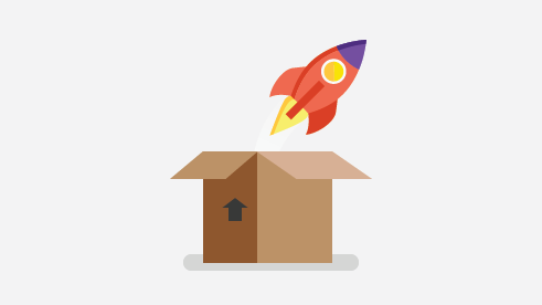 Illustration of a rocket coming out of a box.