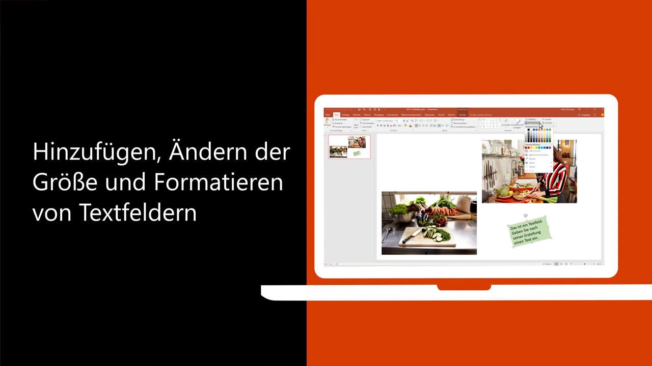 Video: Hinzufügen, Ändern der Größe und Formatieren von Textfeldern ...