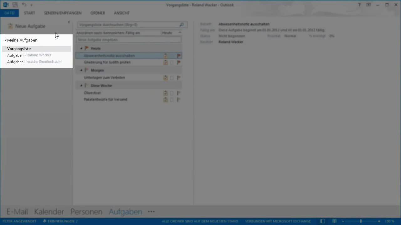 Neuerungen in Microsoft Office Outlook 2013 - Outlook